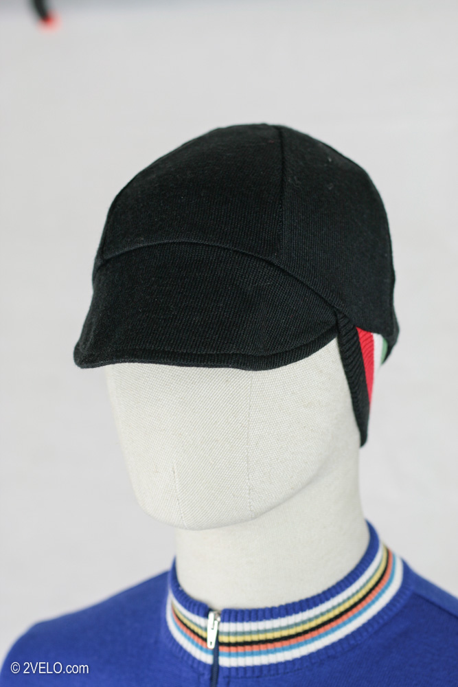 Merino wool cycling cap double sided italy black